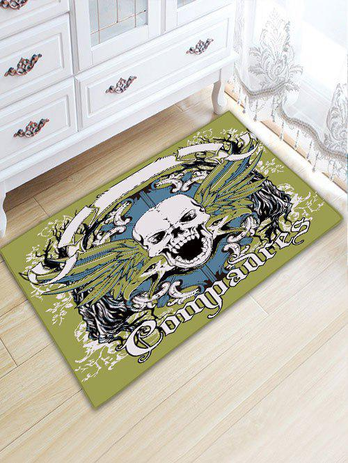 Skull Letter Bathroom Skidproof Flannel Rug - GREEN W20 INCH * L31.5 INCH