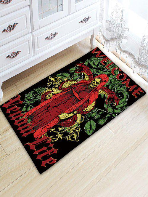 Skeleton Man Print Skidproof Flannel Bath Rug - RED W20 INCH * L31.5 INCH