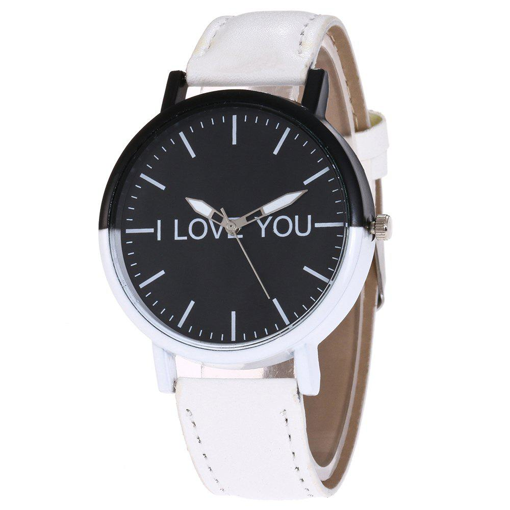I Love You Faux Leather Watch, White