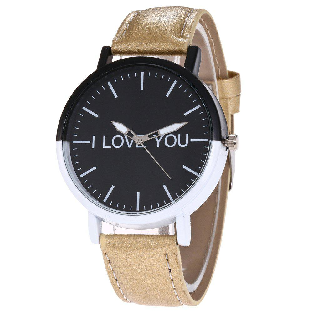 I Love You Faux Leather Watch - GOLDEN