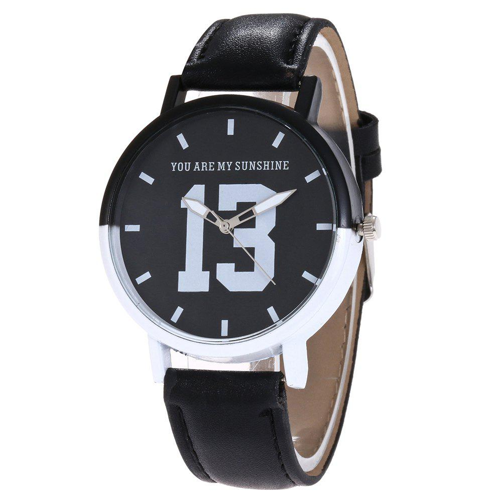 Number 13 Face Faux Leather Watch
