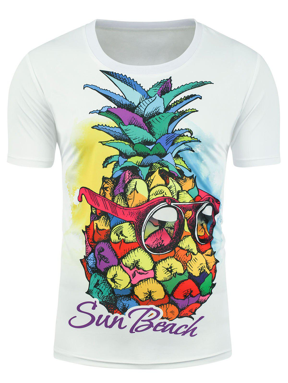 Pineapple Sun Beach Graphic T-shirt - WHITE XL