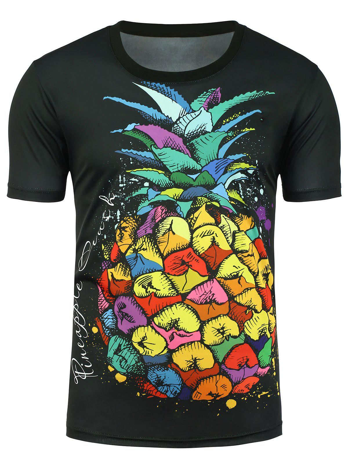 Pineapple Print Graphic T-shirt - BLACK L