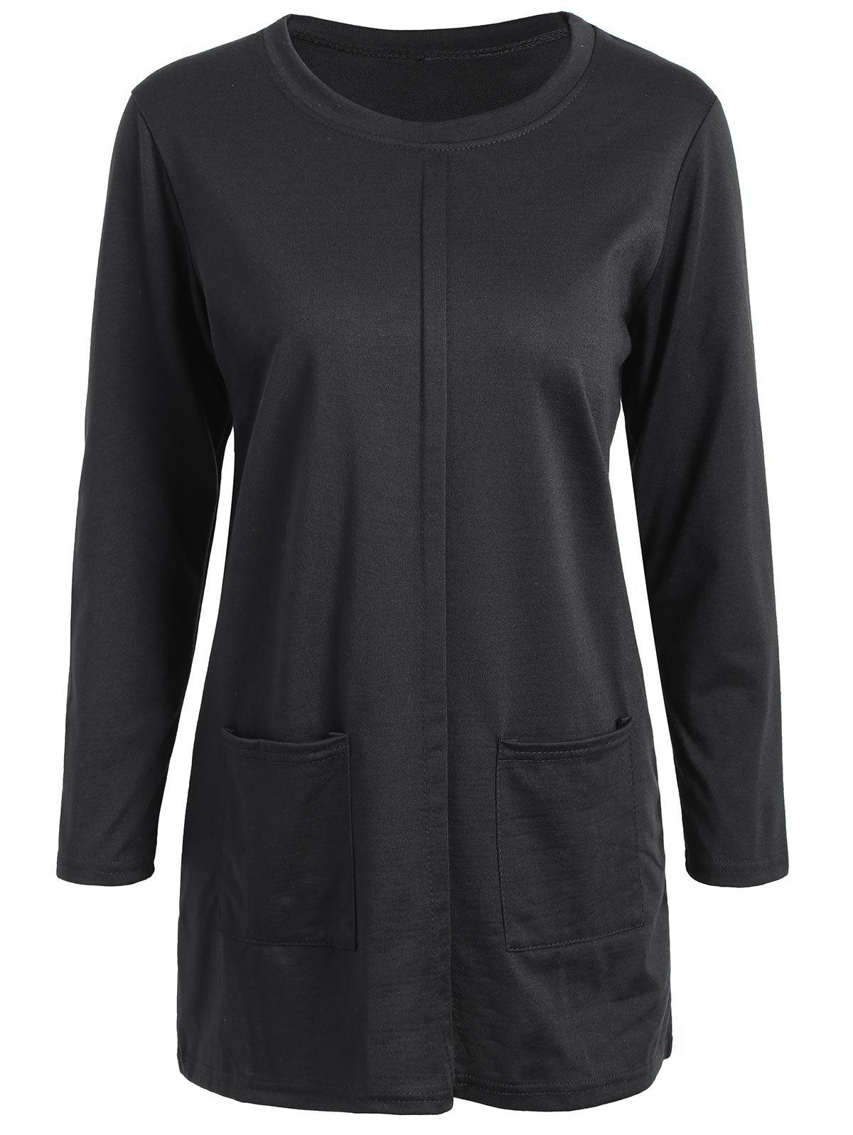 Plus Size Pocket Longline Tee - BLACK 5XL