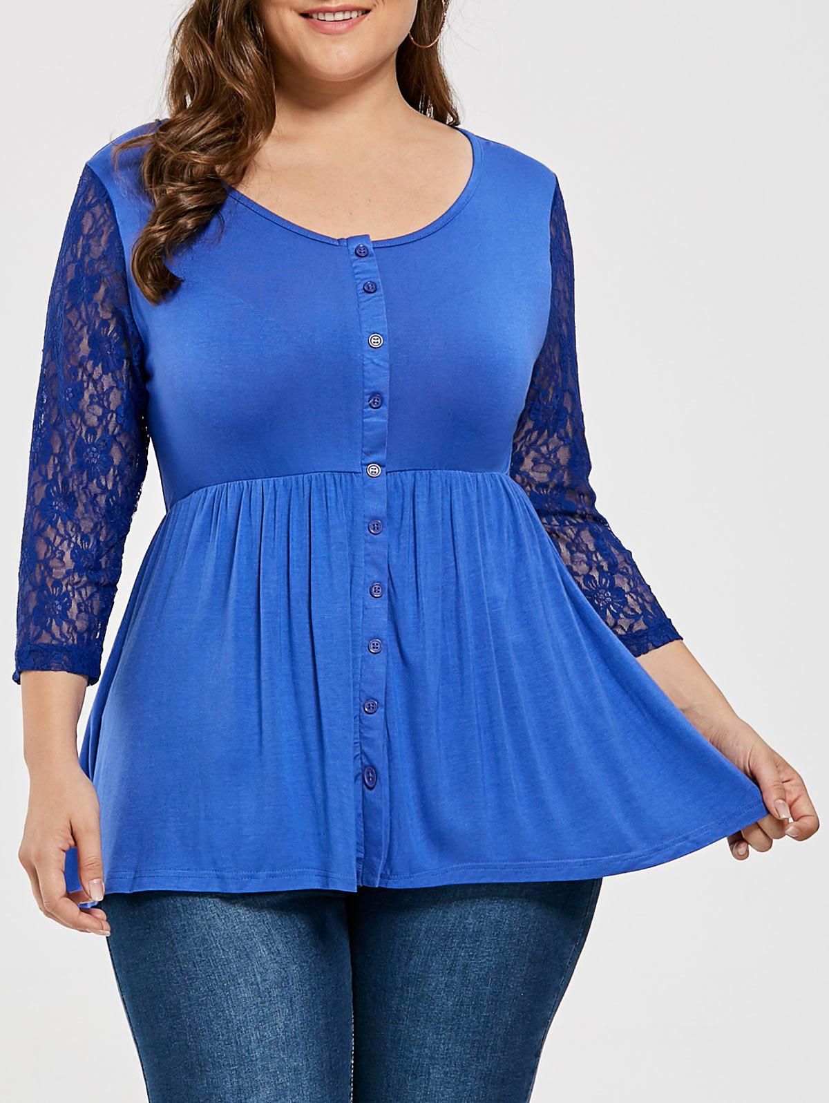 Plus Size Lace Sleeve Button Dressy Blouse - ROYAL 6XL