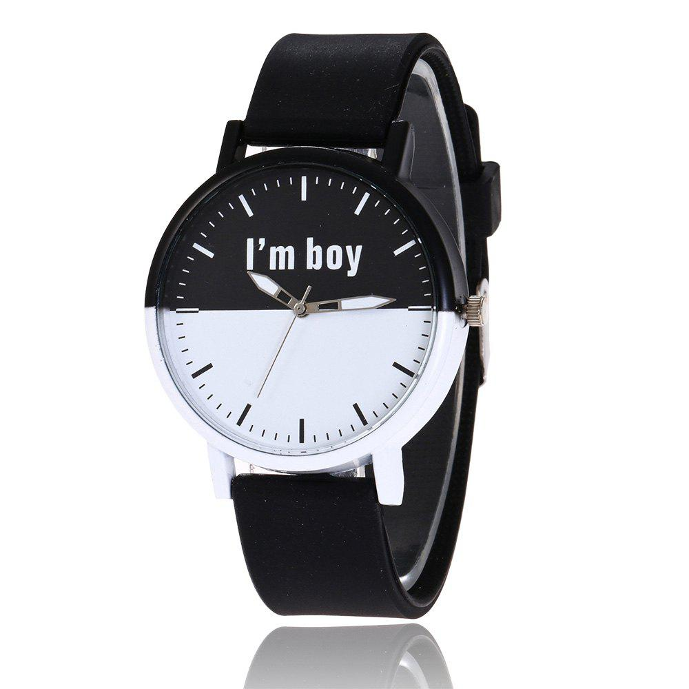 Boy Letter Face Silicone Watch, Black