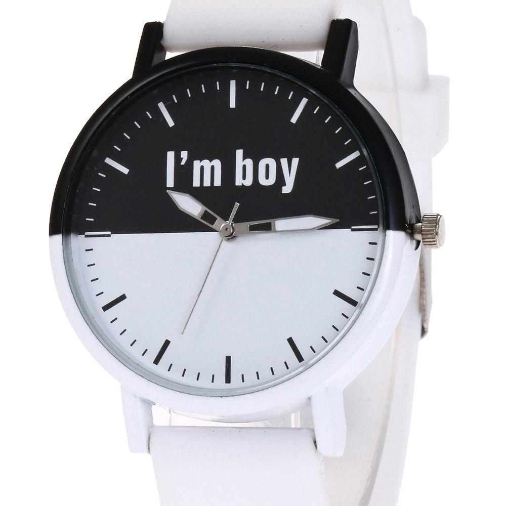 Boy Letter Face Silicone Watch - WHITE