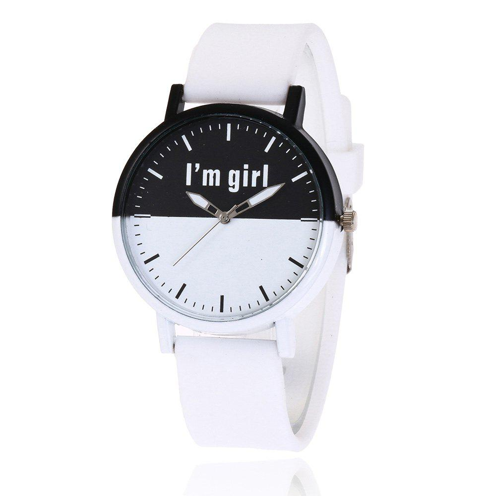 Girl Letter Face Silicone Watch - WHITE