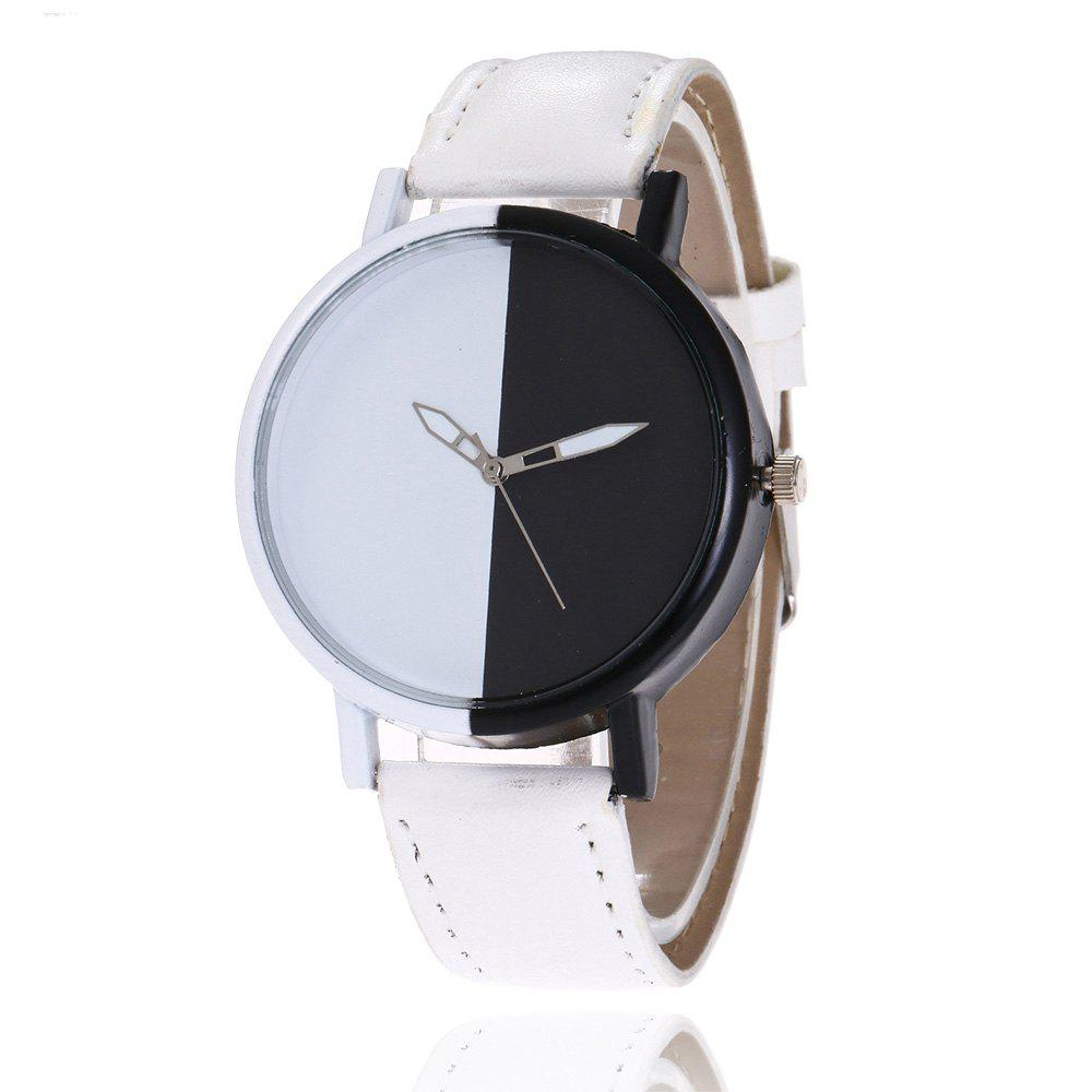 Color Block Face Faux Leather Watch - WHITE