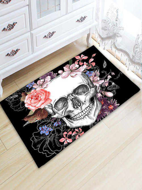 Skull Floral Skidproof Flannel Bath Mat - BLACK W20 INCH * L31.5 INCH