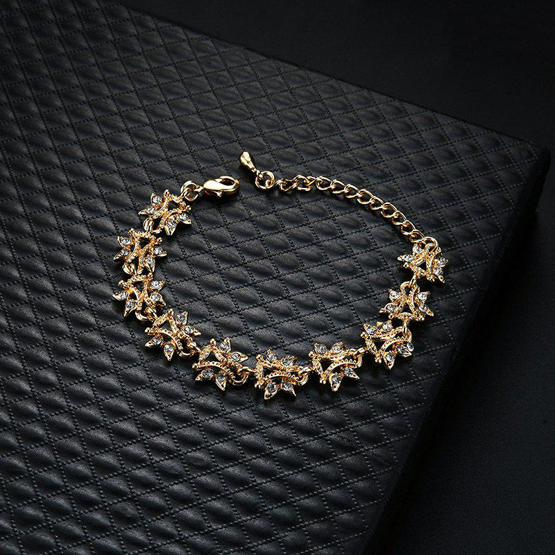 Rhinestoned Butterfly Shape Chain Bracelet - Or