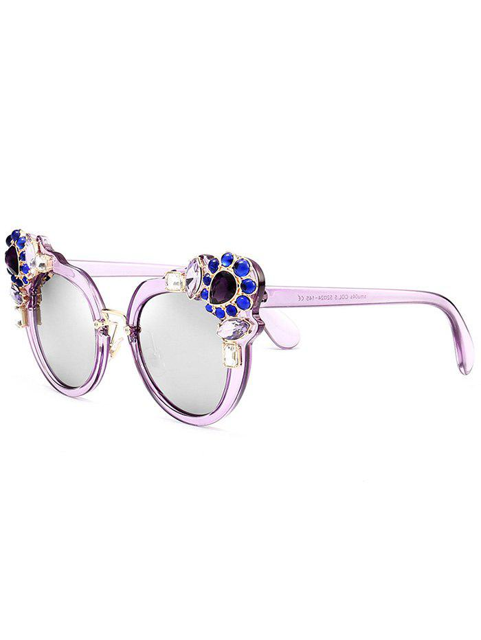 Artificial Crystal Gem Inlay Anti UV Sunglasses - PURPLE