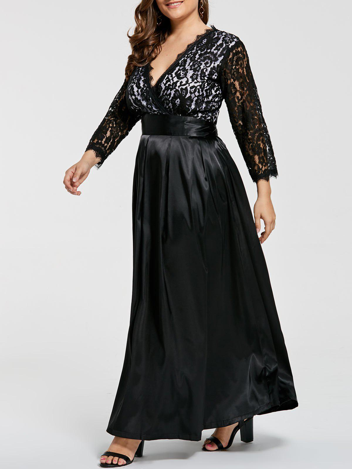 Plus Size Lace Sleeve V Neck Maxi Formal Dress plus size maxi lace formal dress with sleeves