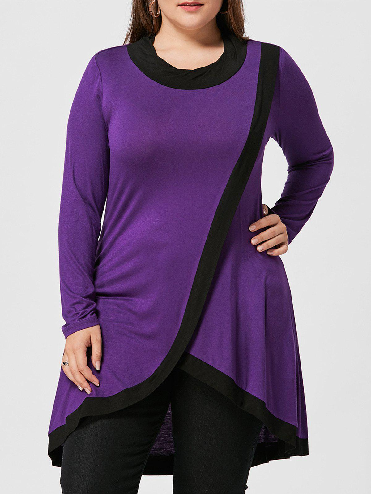 Plus Size High Low Tunic Surplice T-shirt
