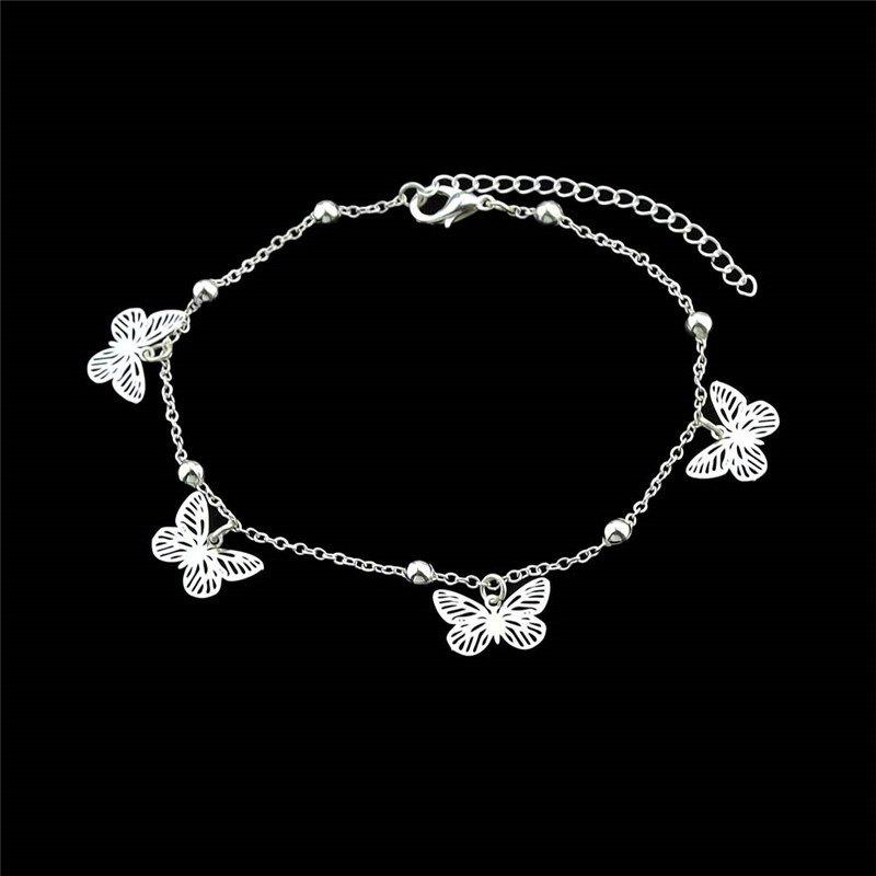 Charm Alloy Beads Butterfly Anklet - SILVER