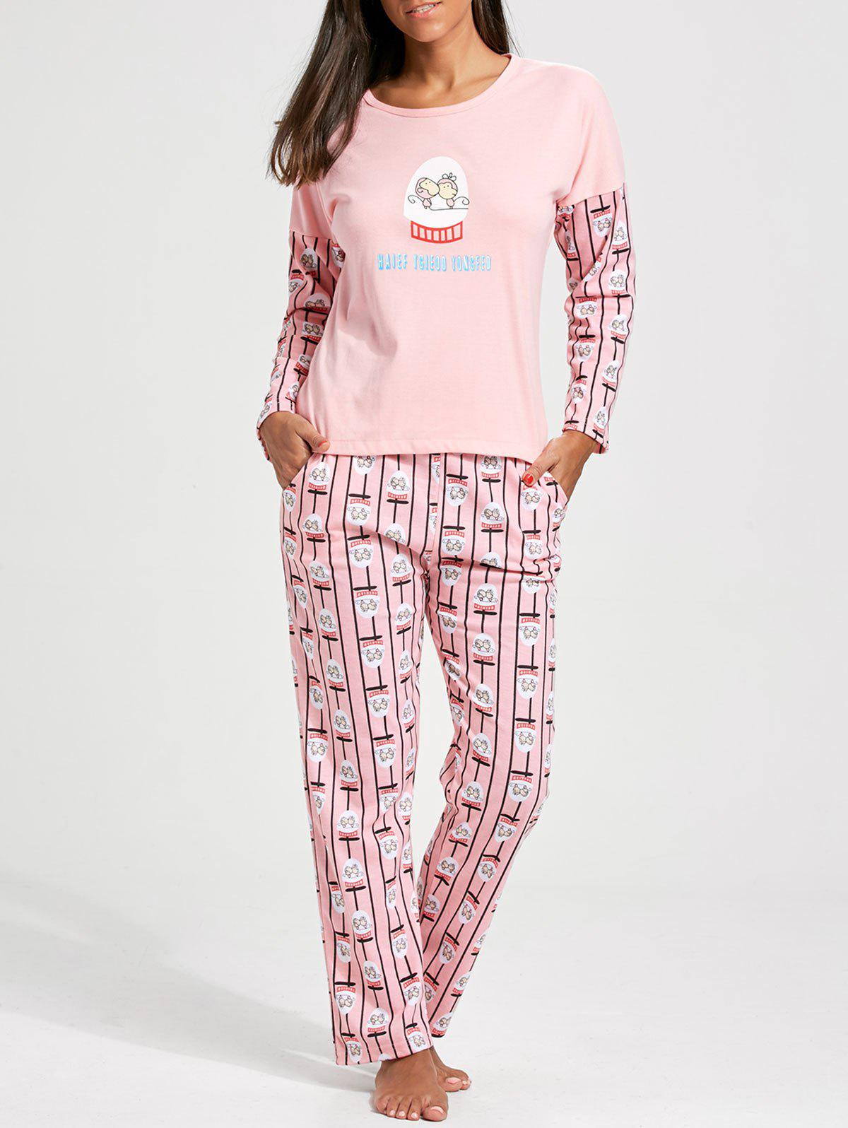 Printed Long Sleeves Pullover PJ Set - LIGHT PINK 2XL