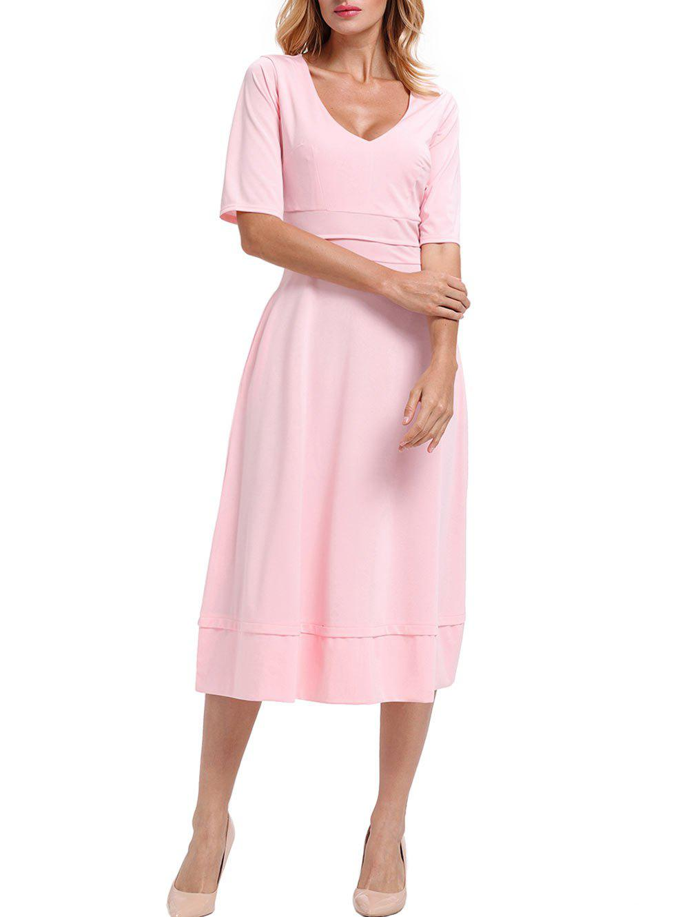 V Neck Half Sleeve Tea Length Dress - PINK M