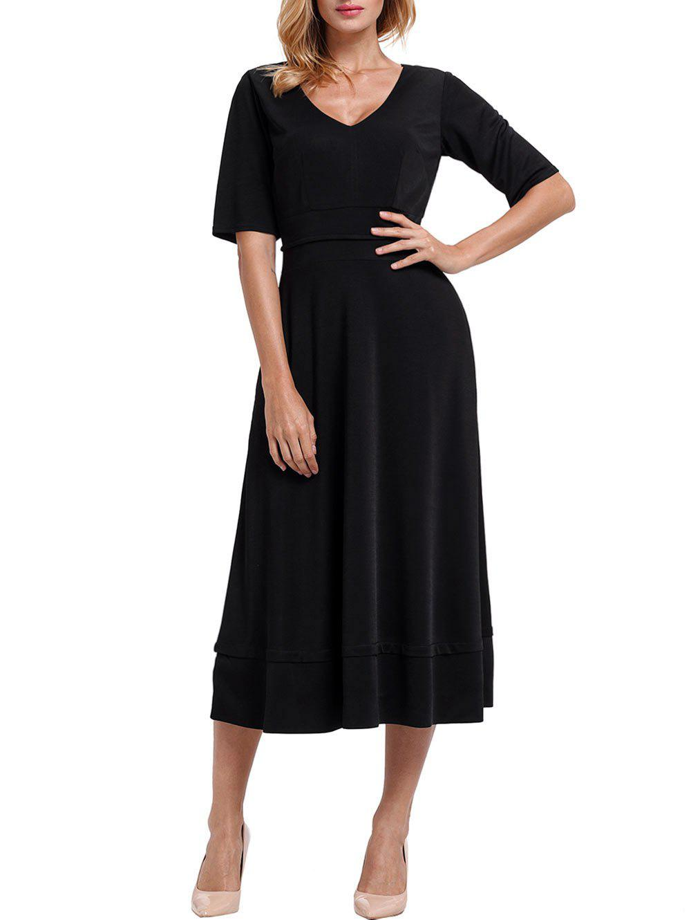 V Neck Half Sleeve Tea Length Dress - BLACK M