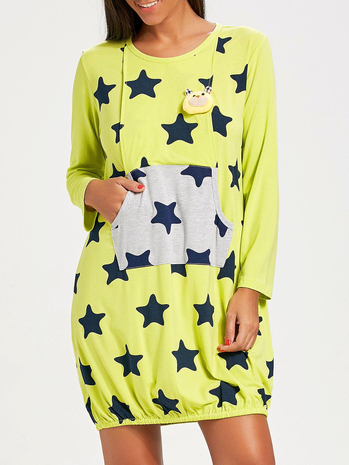 Stars Print Nursing Night Dress - BRILLIANT GREEN XL