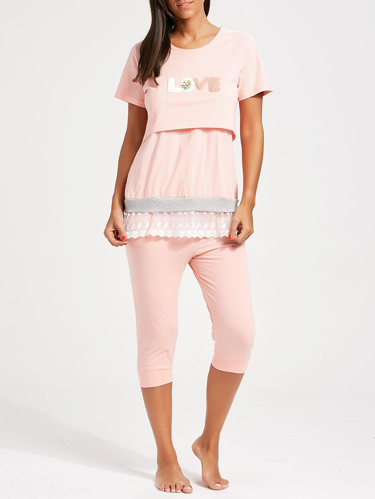 Stripe Lace Trim Nursing Pajamas Set - ORANGEPINK L