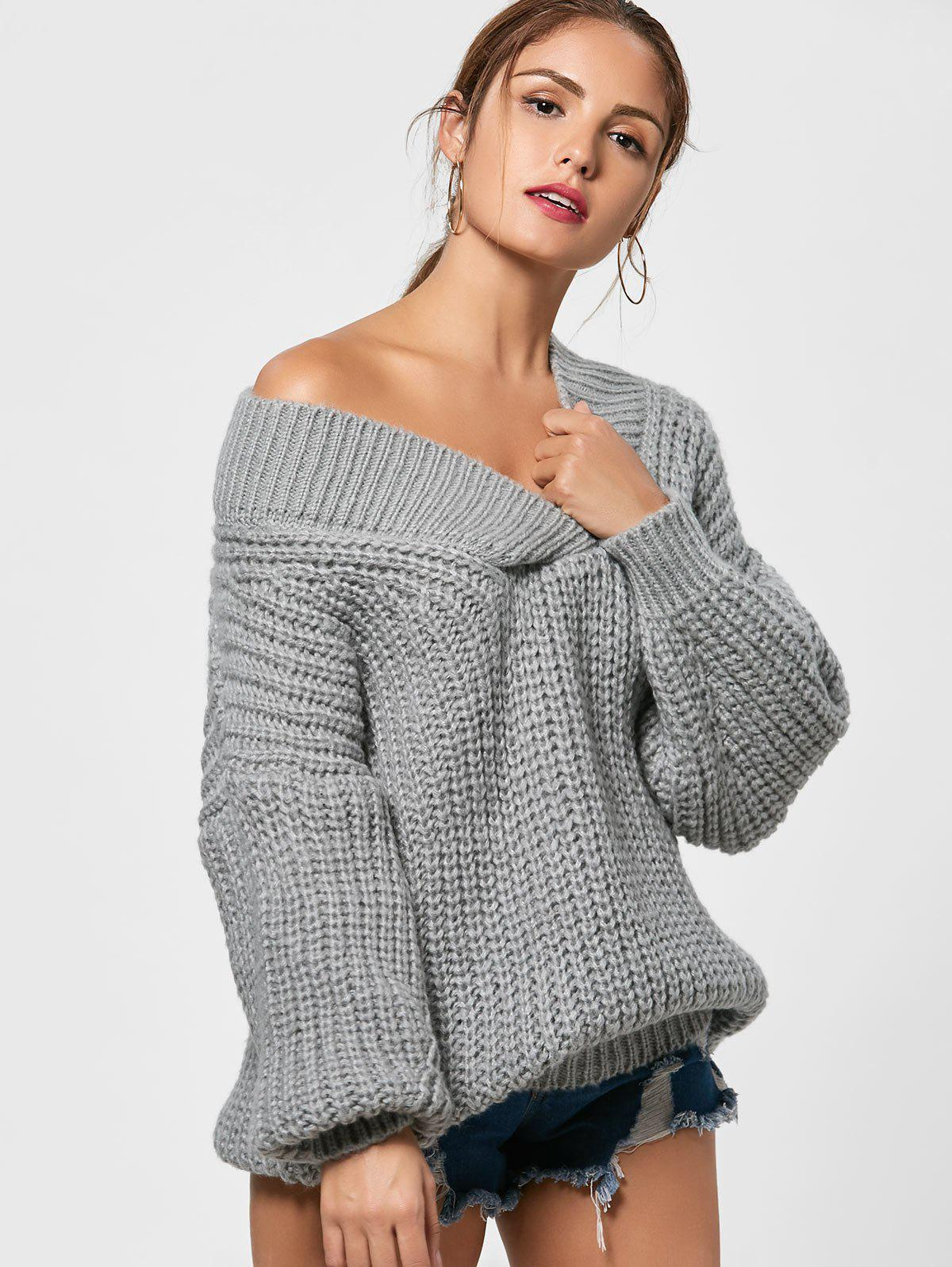 Surplice Drop Shoulder Chunky Sweater - GRAY ONE SIZE