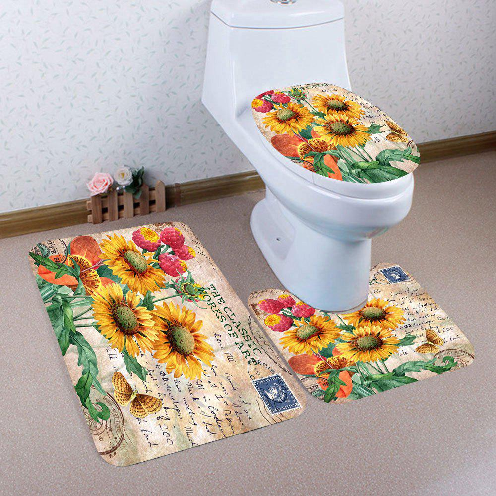 Nonslip Sunflowers Pattern 3Pcs Bath Toilet Mat Set - COLORFUL