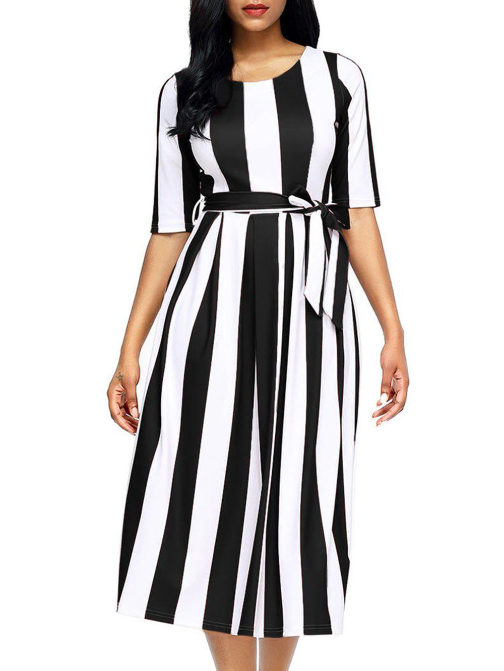 Half Sleeve Striped Midi Dress - BLACK S