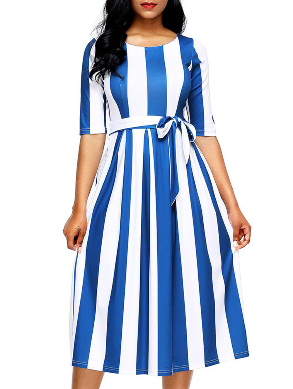 Half Sleeve Striped Midi Dress - BLUE XL