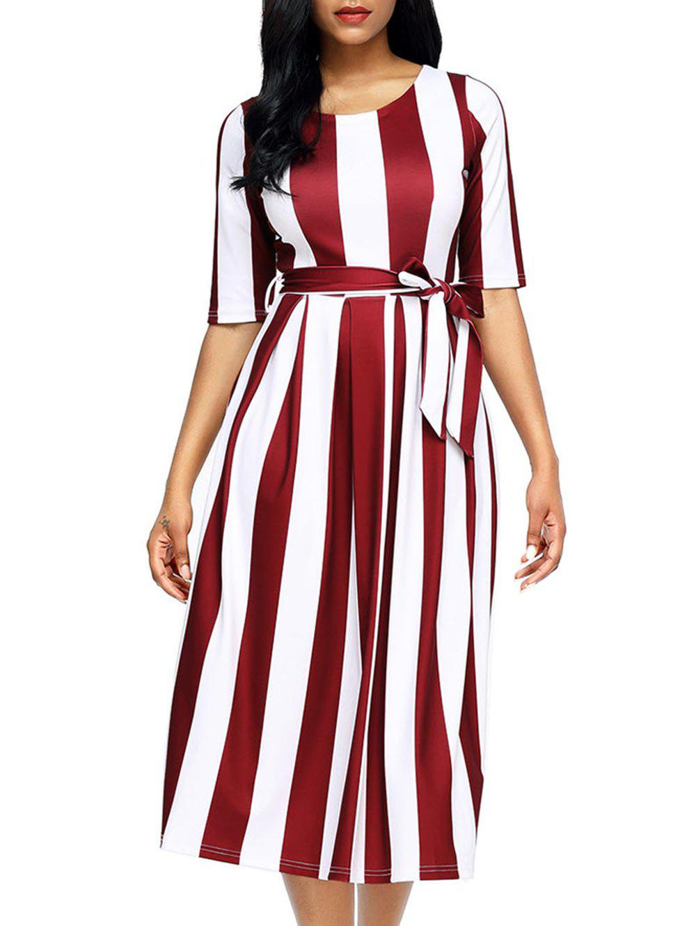 Half Sleeve Striped Midi Dress - RED L