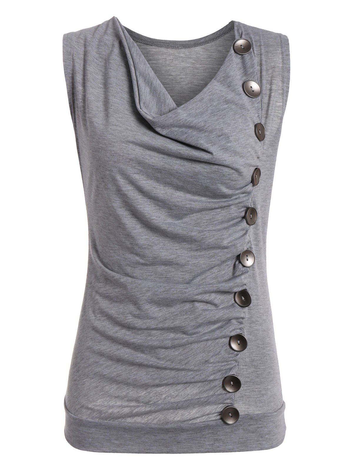 Drape Neck Side Button Tank Top - Gris L