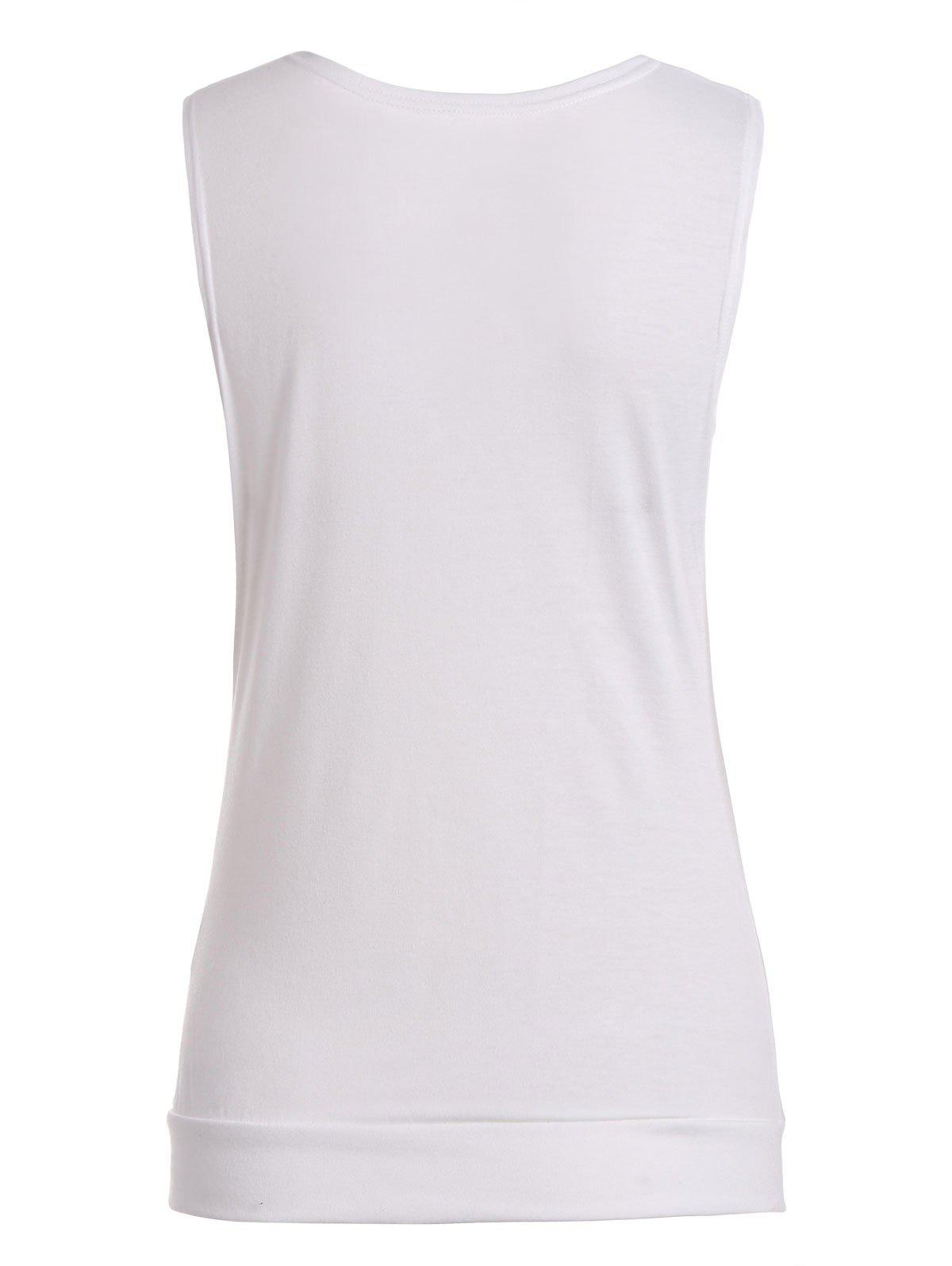 Drape Neck Side Button Tank Top - Blanc M