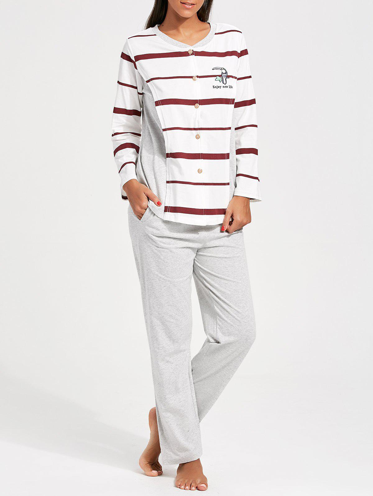 Striped Button Up Nursing PJ Set - RED/WHITE L