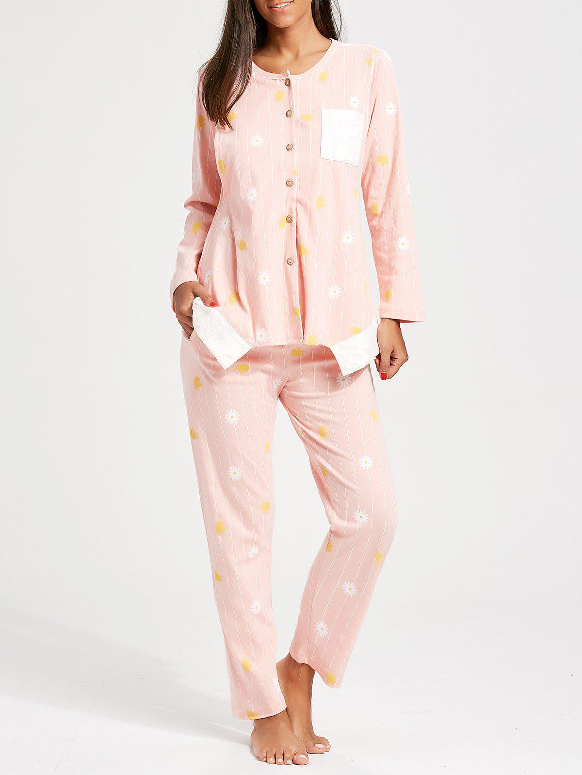 Floral Button Up Nursing Loungewear Set - LIGHT PINK L