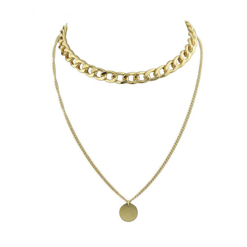 Round Disc Pendant Chain Layered Necklace