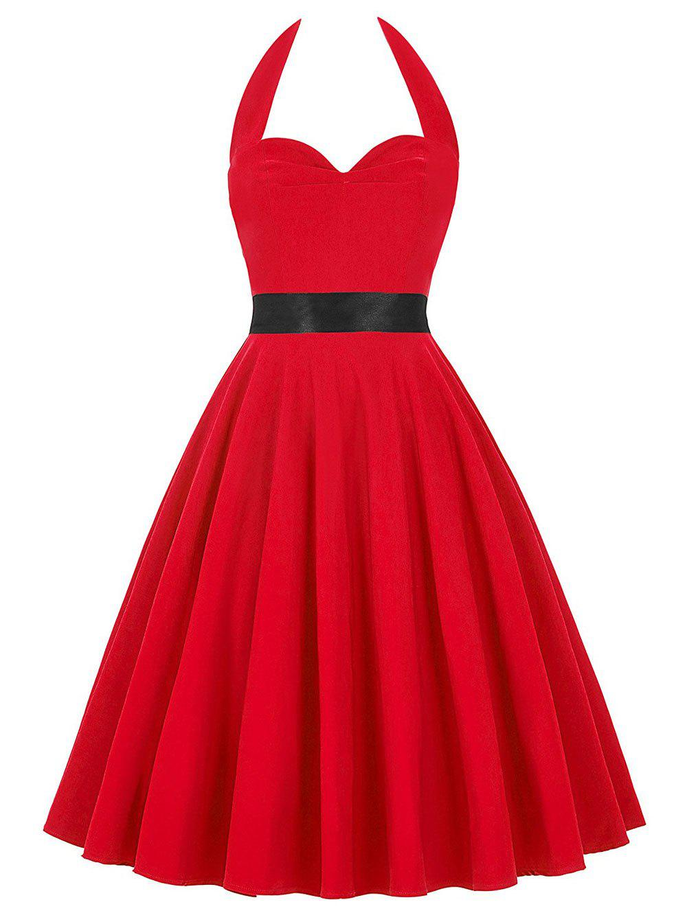 Vintage Halter Backless Lace Up Pin Up Dress - Rouge L