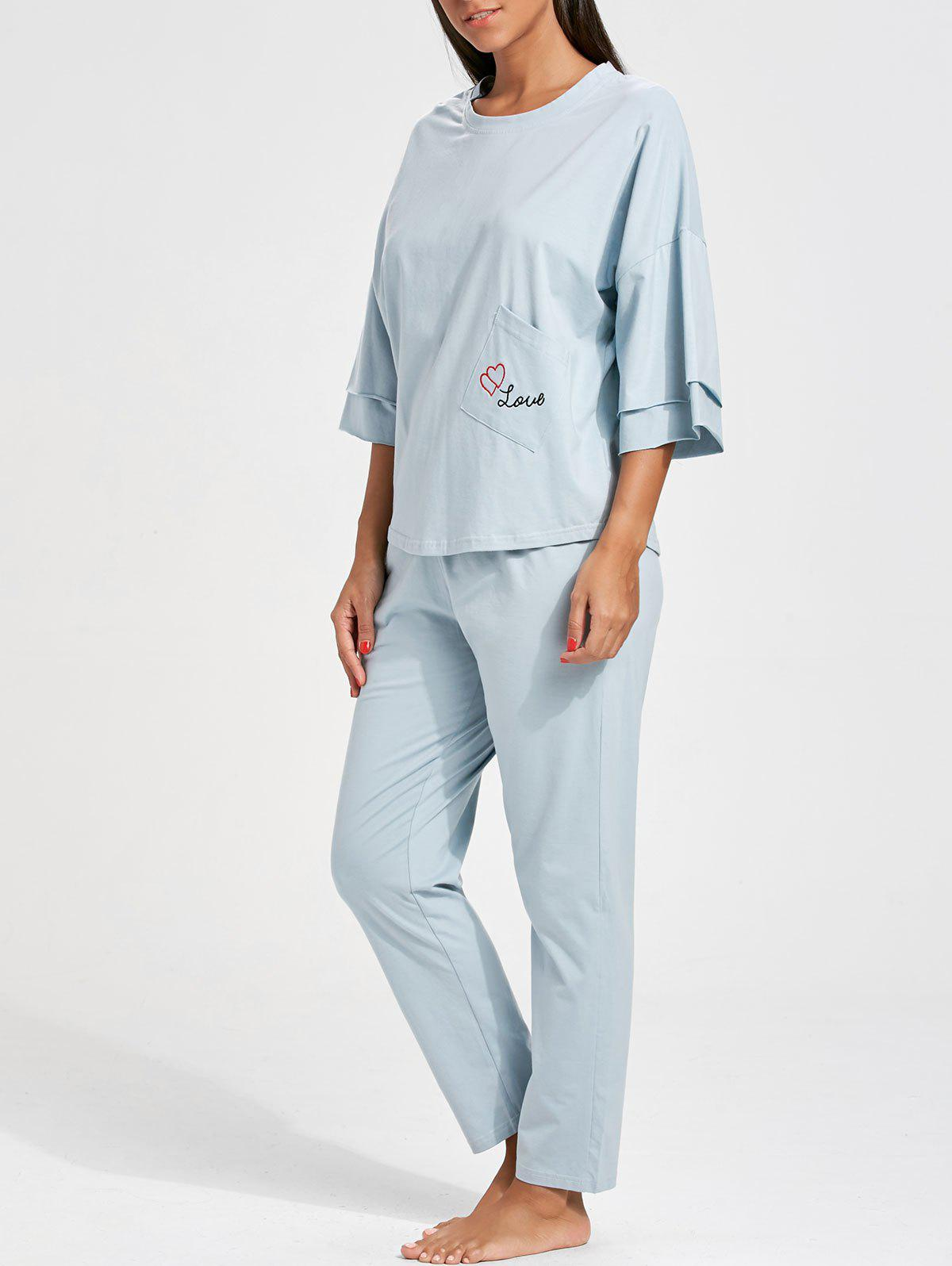 Batwing Sleeve Pajamas Set with Pocket - CLOUDY M