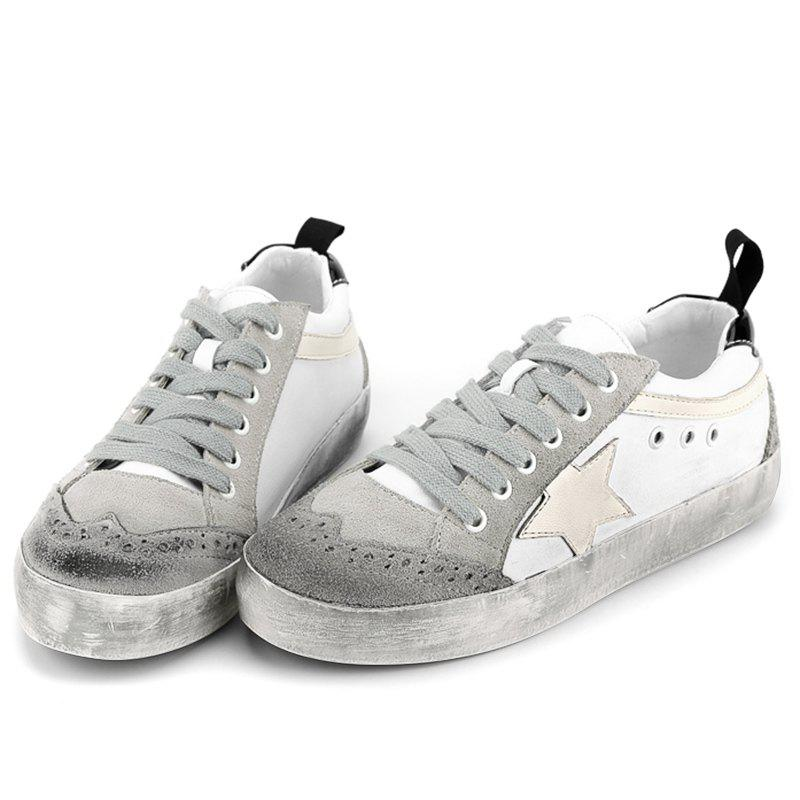 Color Blocking Star Lace Up Sneakers - gris 39