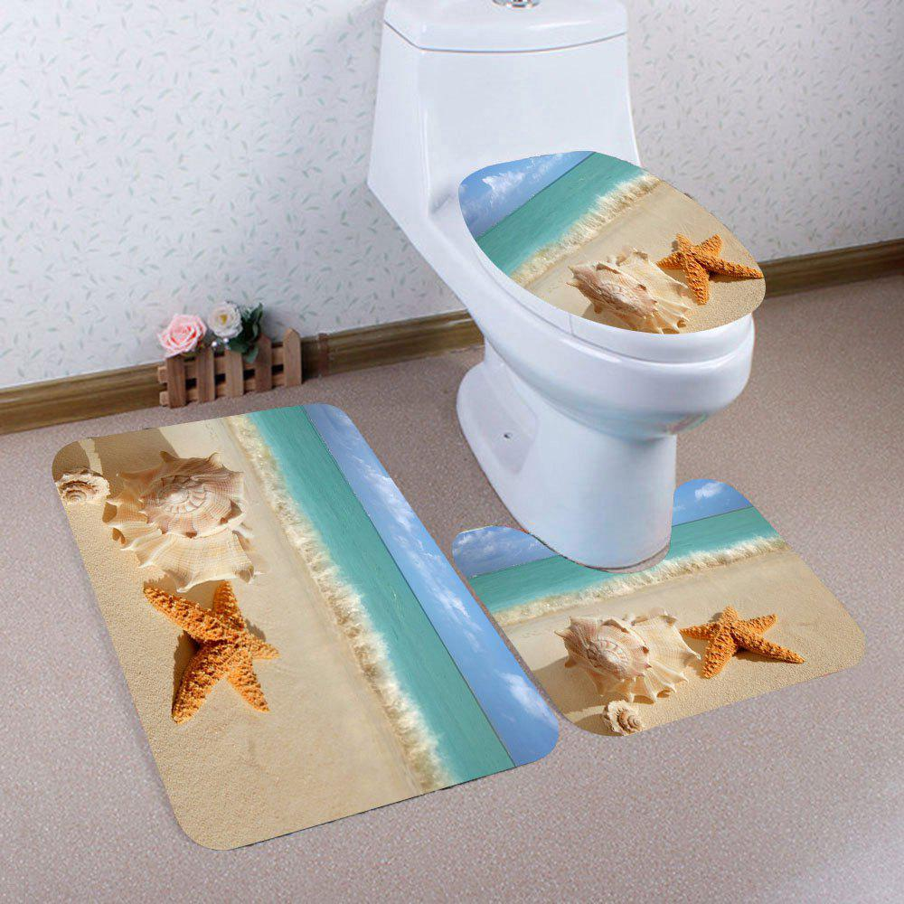 Nonslip Beach Starfish Pattern 3Pcs Bathroom Mats Set - EARTHY