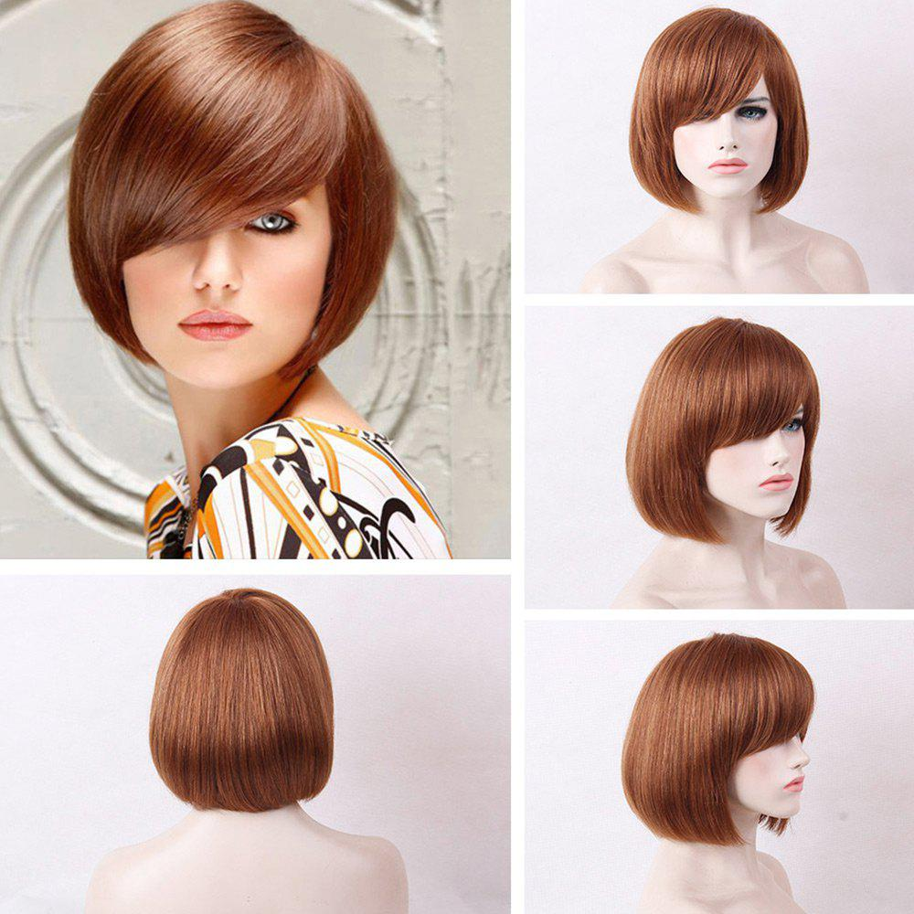 Short Inclined Bang Straight Bob Human Real Hair Wig - AUBURN BROWN
