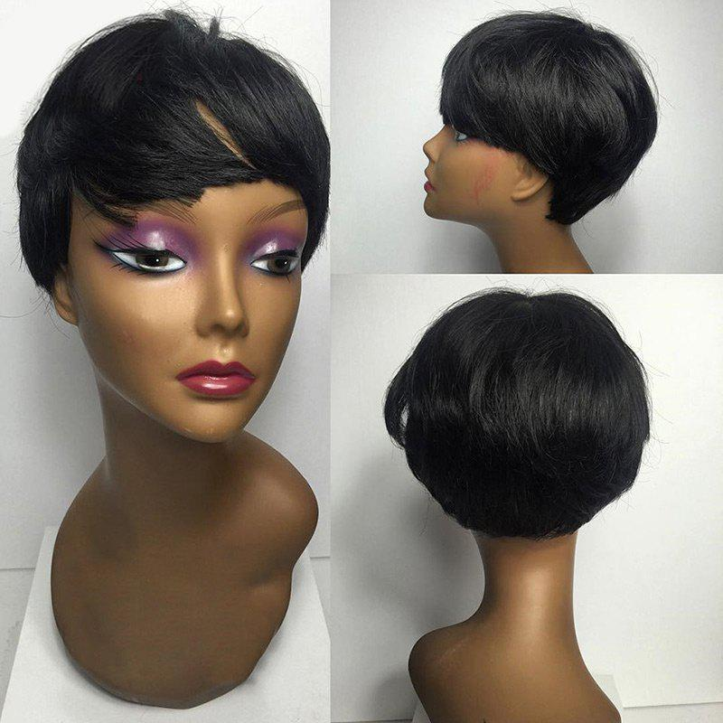 Short Oblique Bang Straight Synthetic Wig