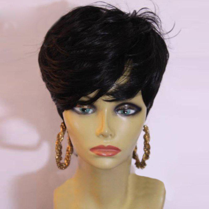 Short Layered Inclined Bang Slightly Curly Synthetic Wig - BLACK