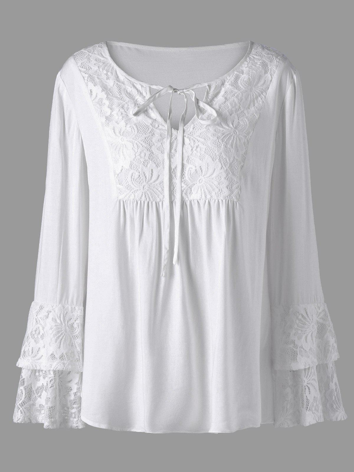 Plus Size Lace Trim Layered Sleeve Blouse вибратор screw driver 10 функций 16 5 см