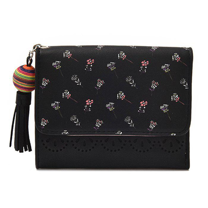 Tassel Flower Design Tri Fold Wallets - Noir