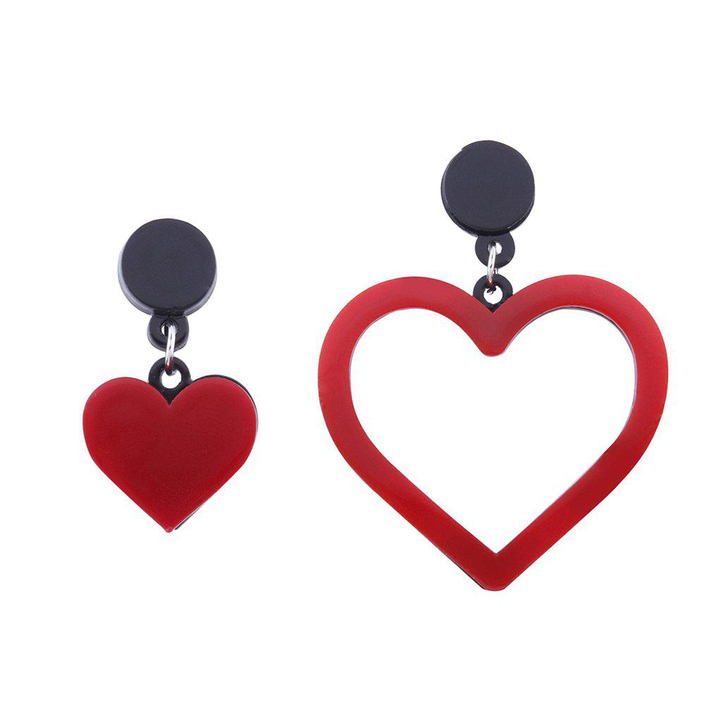 Asymmetric Doubled Heart Drop Earrings - RED
