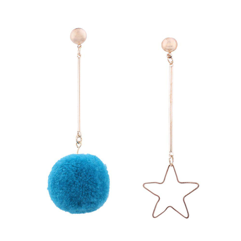 Fuzzy Ball Star Asymmetric Earrings - BLUE
