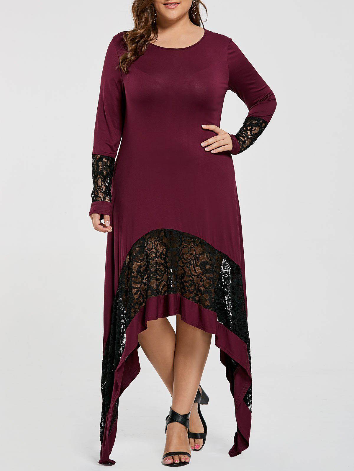 Lace Trim Plus Size Long Asymmetric T-shirt Dress