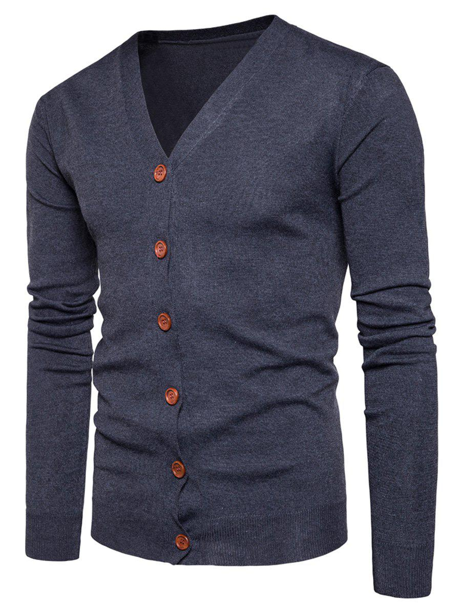 V Neck Button Up Knitting Cardigan - DEEP GRAY M