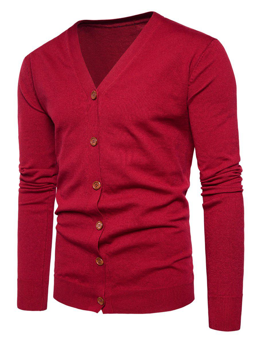 V Neck Button Up Knitting Cardigan - RED M