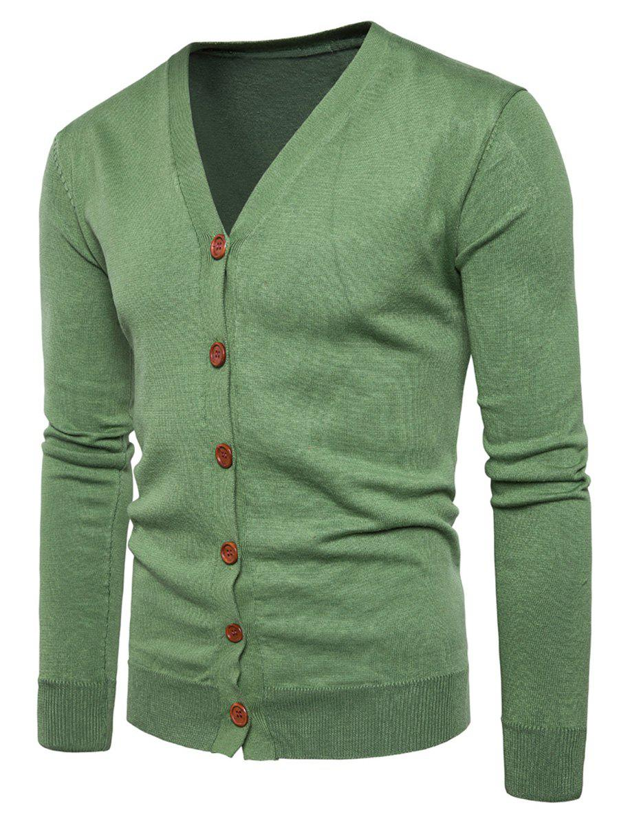 V Neck Button Up Knitting Cardigan - GREEN M