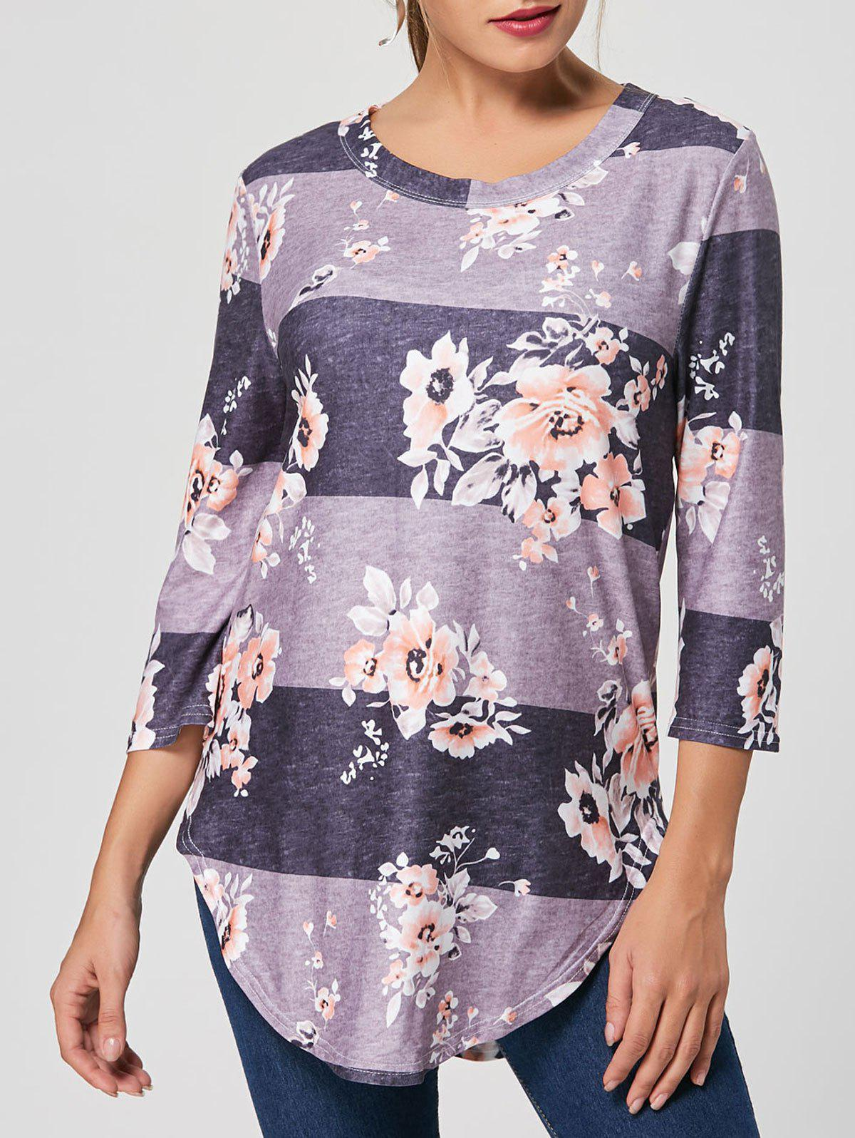 Floral Striped Print Casual Long Tee - GRAY L